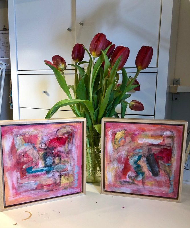 8x8 Abstract (framed)  I & II (Pair)