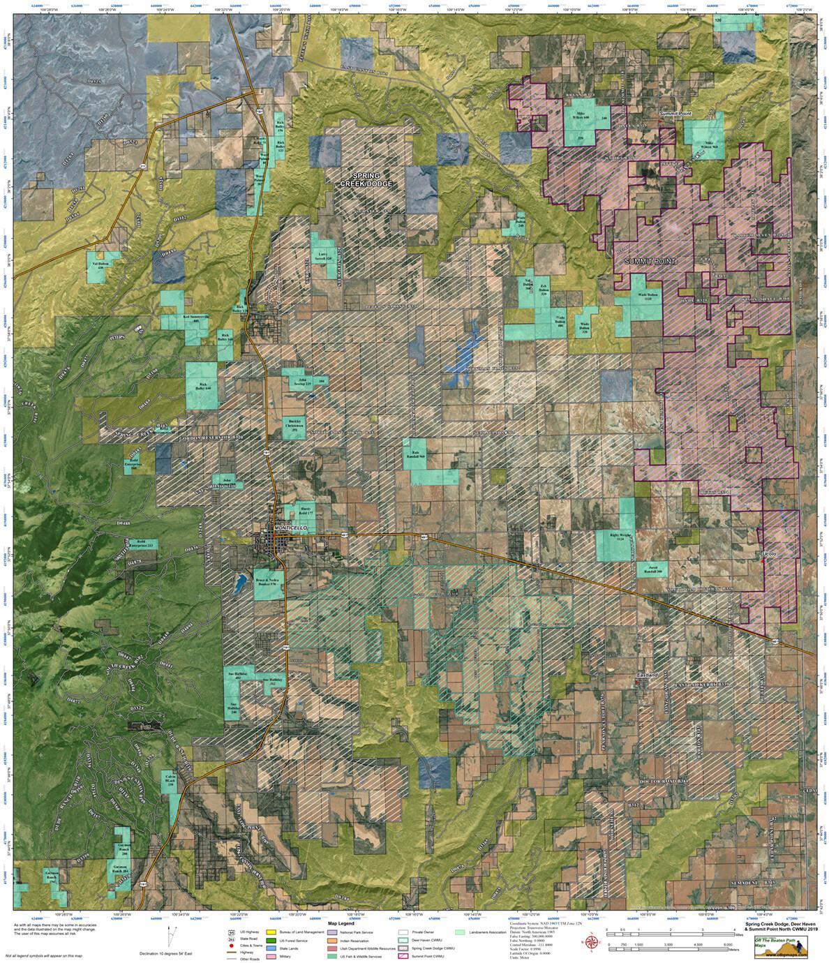 All CWMU Hunting Units Monticello Utah Area 2020
