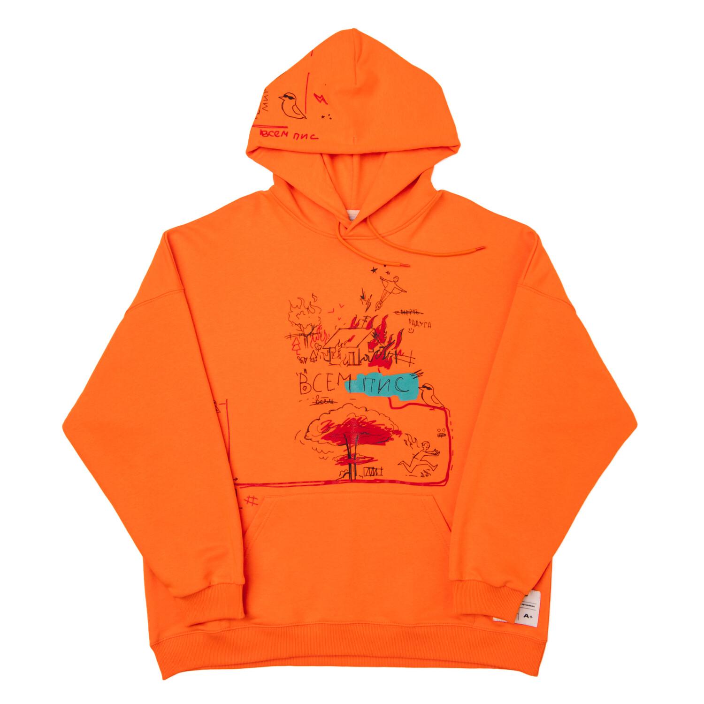 """Худи """"Всем Пис"""" Orange"""