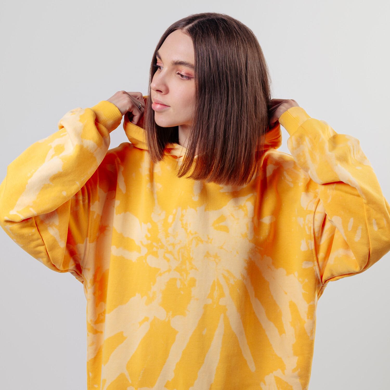 """Худи """"fam lite"""" yellow tie dye"""