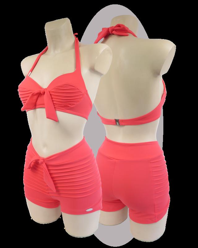 Bikini stitched lines, coral