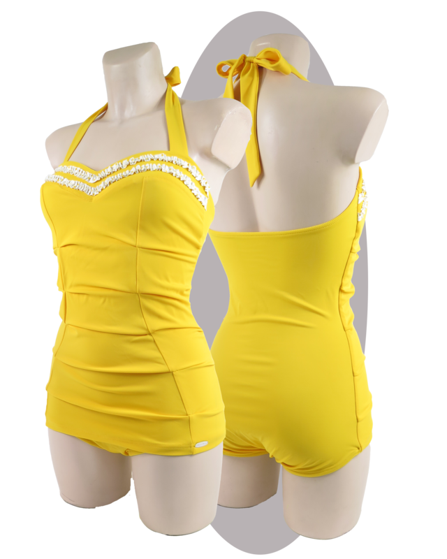 Bathing suit, yellow, ruffles, pleated parts, apron.