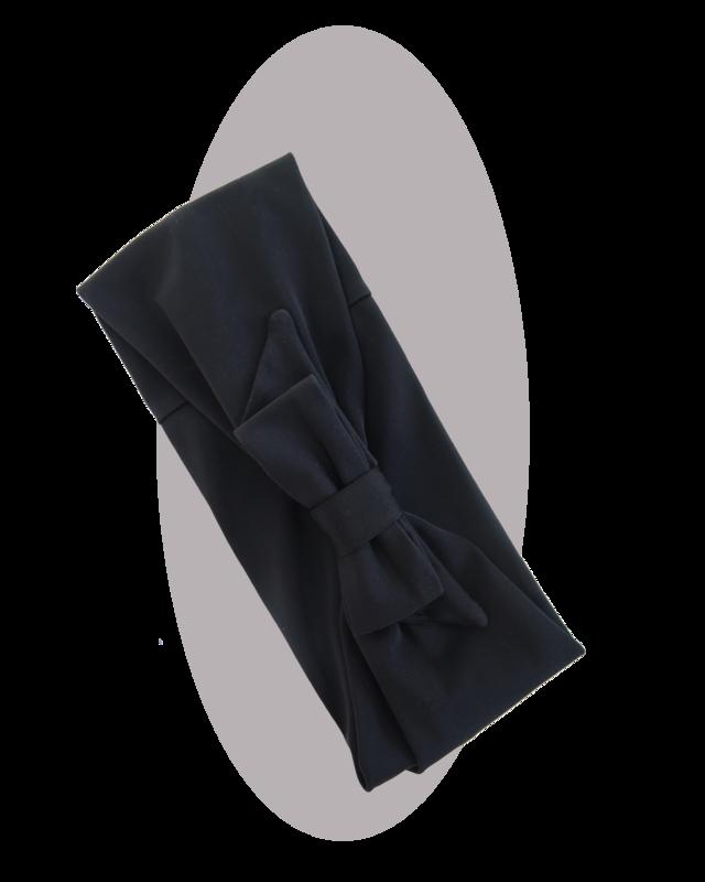 Headband with large bow, black