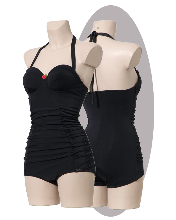 Bathing suit with pleated front, wired cups