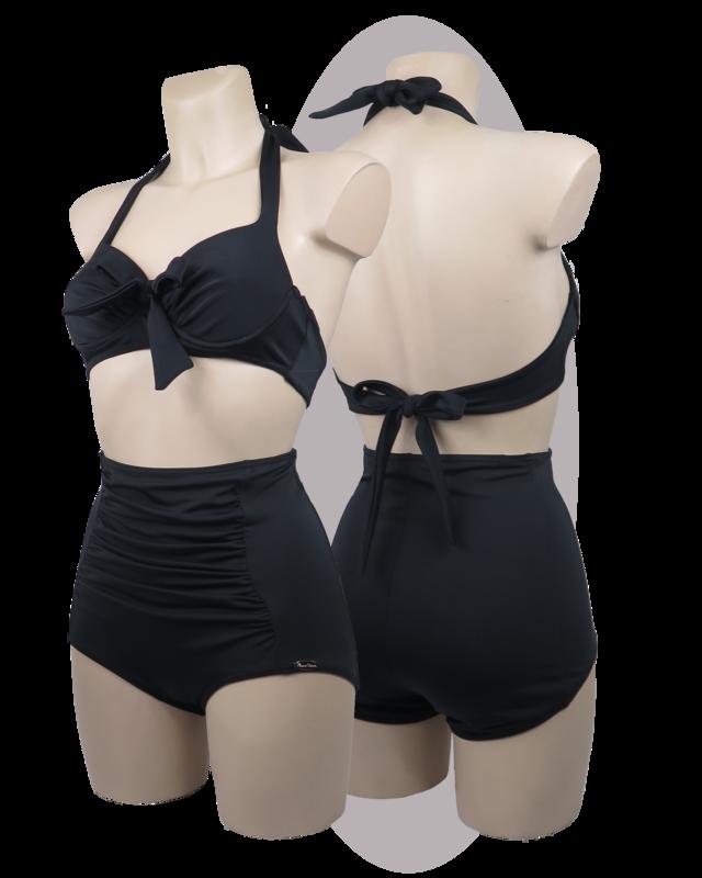 Bikini in black lycra, pleated cups and pants