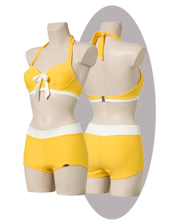Bikini, yellow with ivory strip and bow