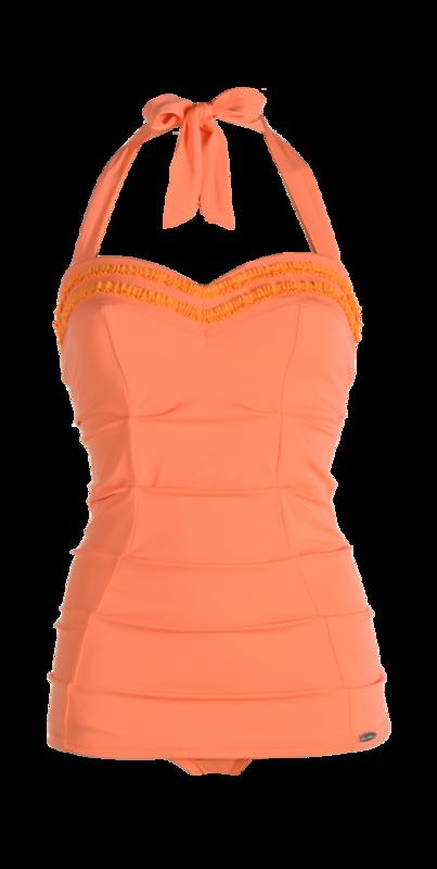 Bathing suit, ruffles, pleated parts, apron. pink-orange