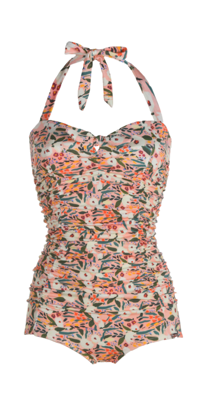Bathing suit, pleated parts in front,  small bow in front, flowers