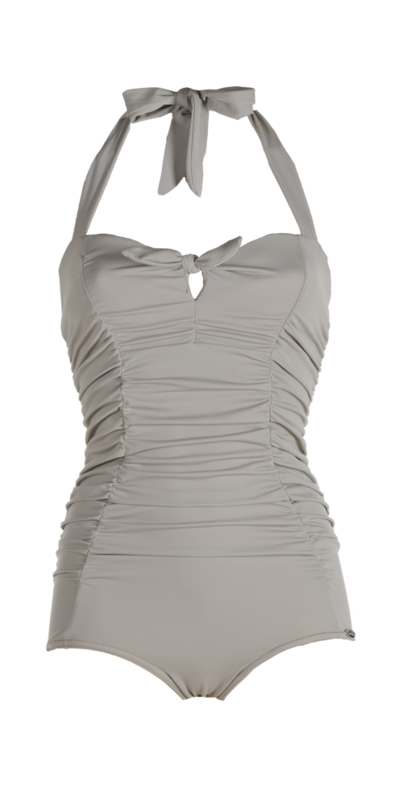Bathing suit, pleated parts in front,  small bow, kleur taupe-grey