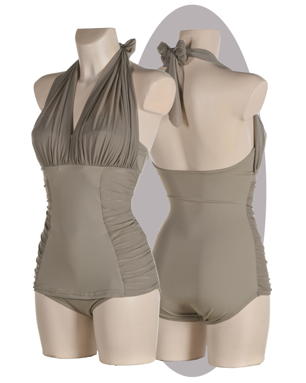 Bathing suit, soft cups with pleated halters, apron.