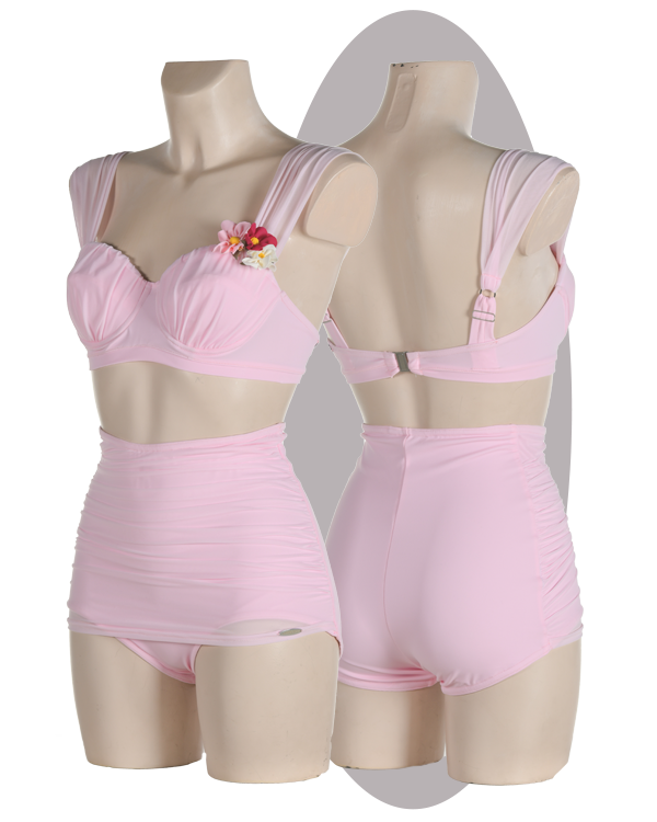 Bikini, high pants with pleated apron, pleated cups and shoulder straps, pink.