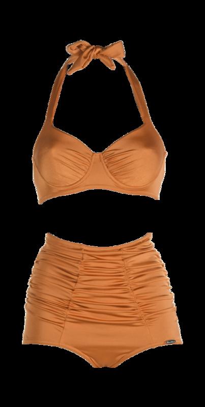 Bikini with pleated cups and pants, bronze