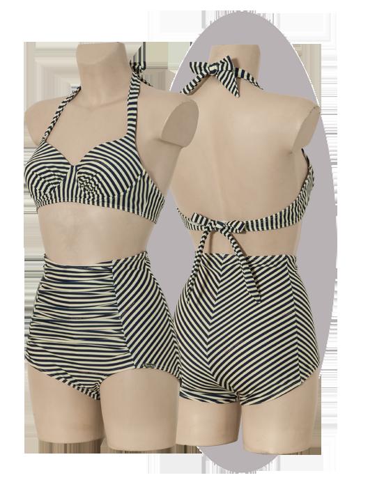 Bikini, striped print, pleated parts, high waisted shorts.