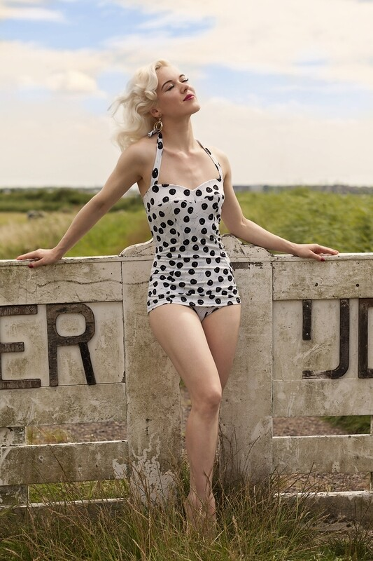 Bathing suit  with apron, off white & black cherries