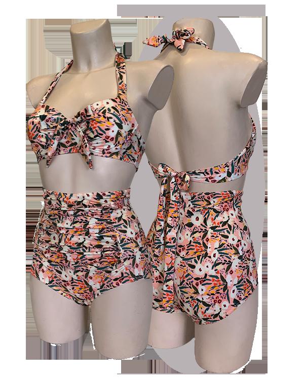 Bikini, pleated cups, bows, high waisted shorts. Pink flowers print