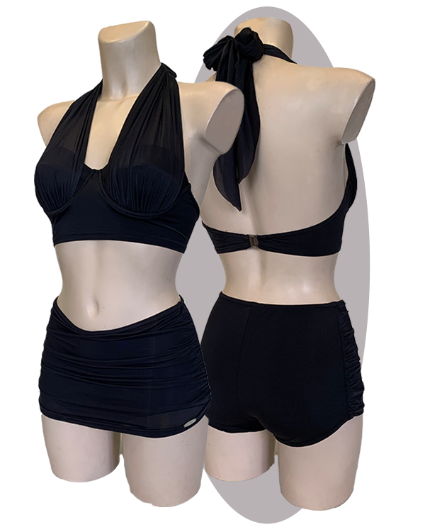 Bikini pleated halters, black, wired cups & halter