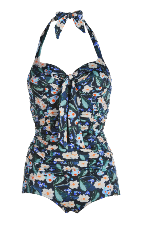 Bathing suit, pleated, with bow, in flowers black-blue print
