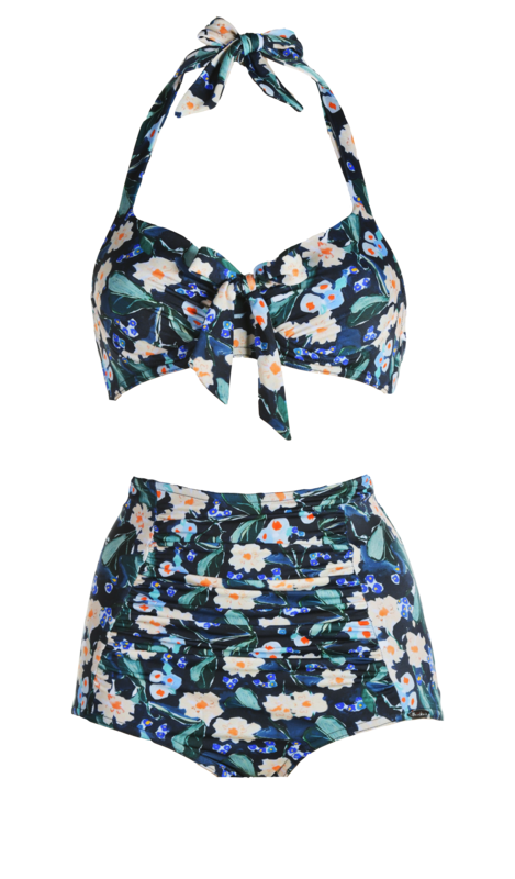 Bikini, pleated cups, bows, high waisted shorts, pleated parts. Flowers print