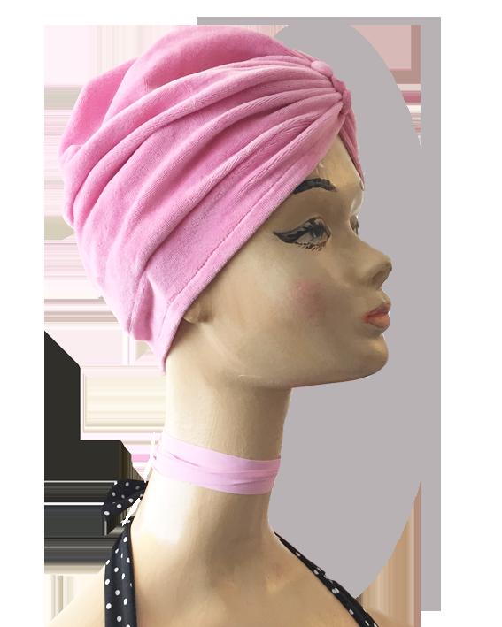 turban pink velvet, 3 buttons