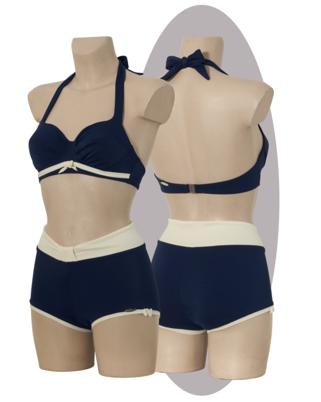 Bikini, marine blue, pleated cups, tiny bows