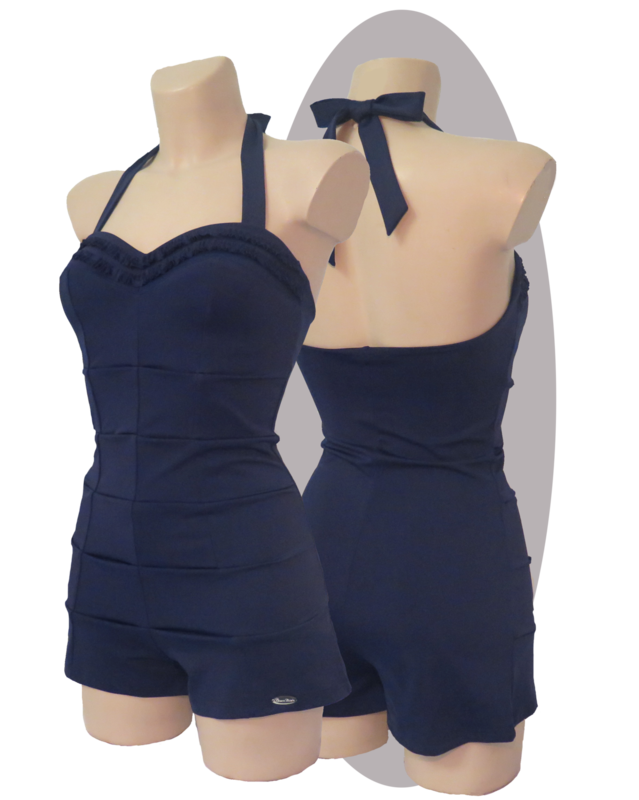 Bathing suit, shorty, pleated parts in front, ruffles, blue