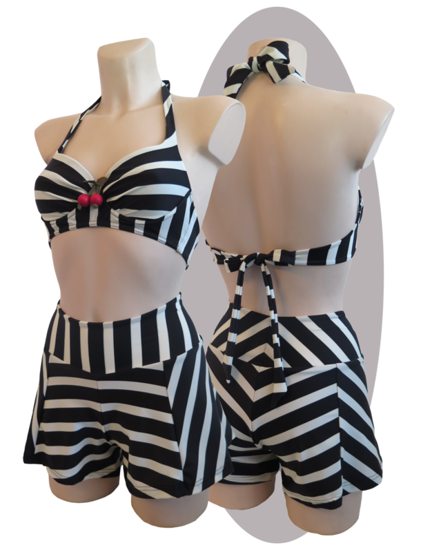 Bikini, black & ivory striped, pleated, high waisted whide shorts