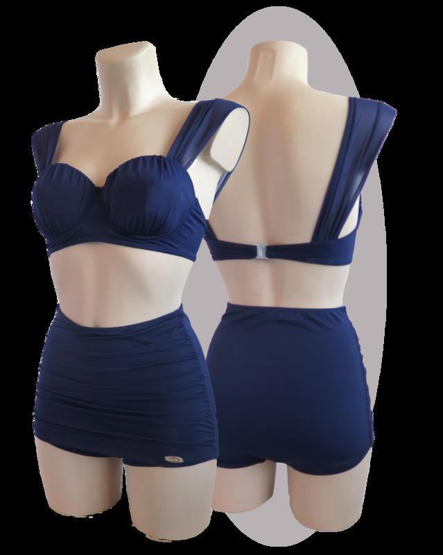 Bikini, marine blue, pants with pleated apron, pleated cups