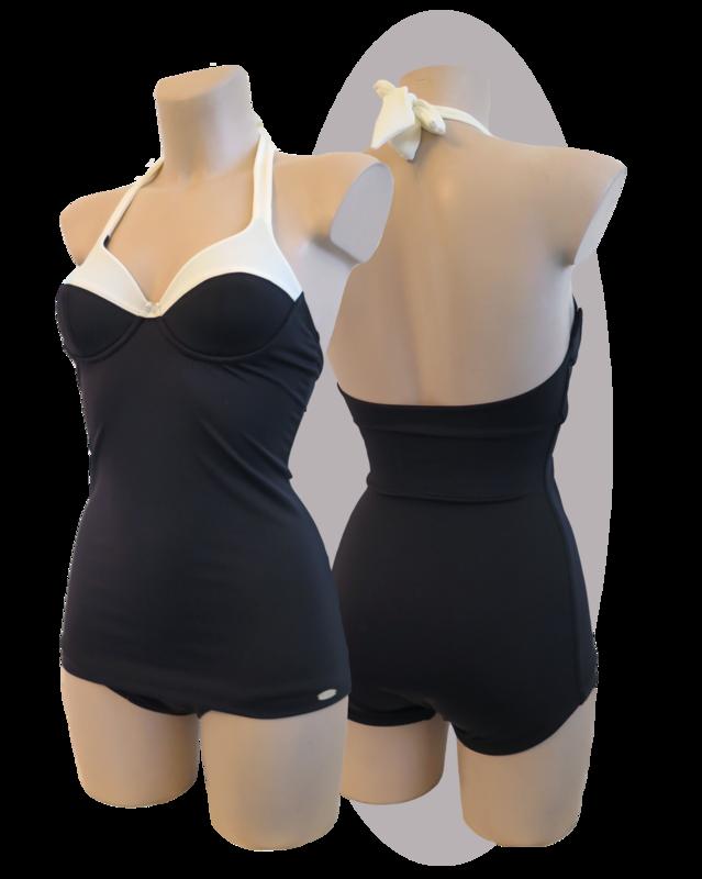 Bathing suit, black & white parts, apron