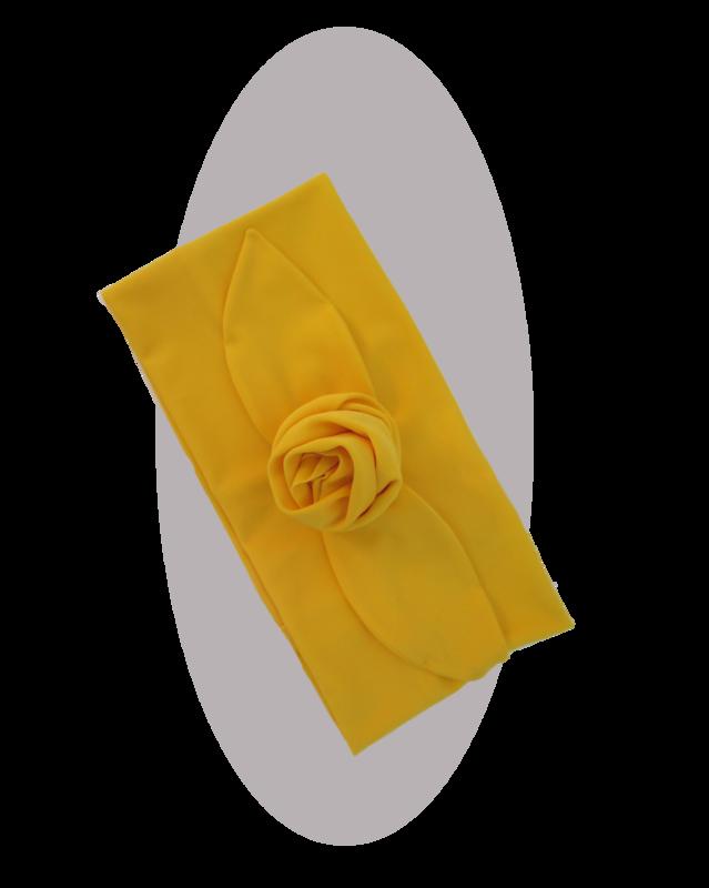 Headband with large rose  mais yellow
