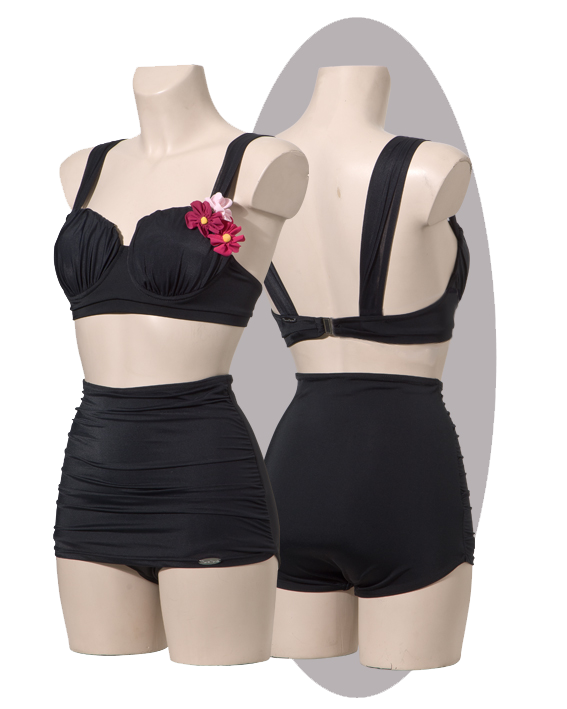 Bikini, high pants with pleated apron, pleated cups and shoulder straps, black.