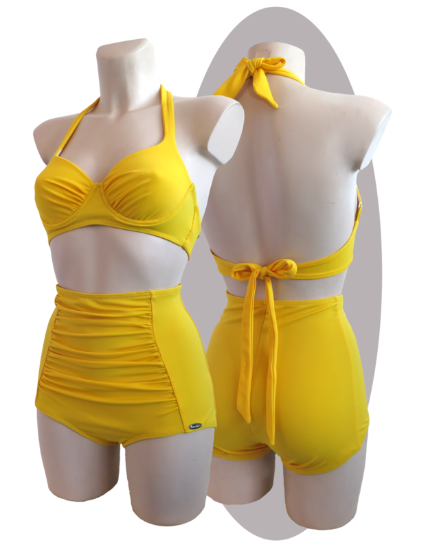 Bikini, yellow, pleated cups, bows, high waisted shorts, pleated parts.