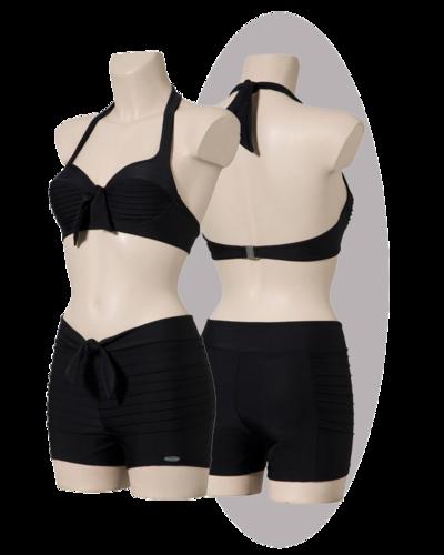 Bikini with stitched lines, black