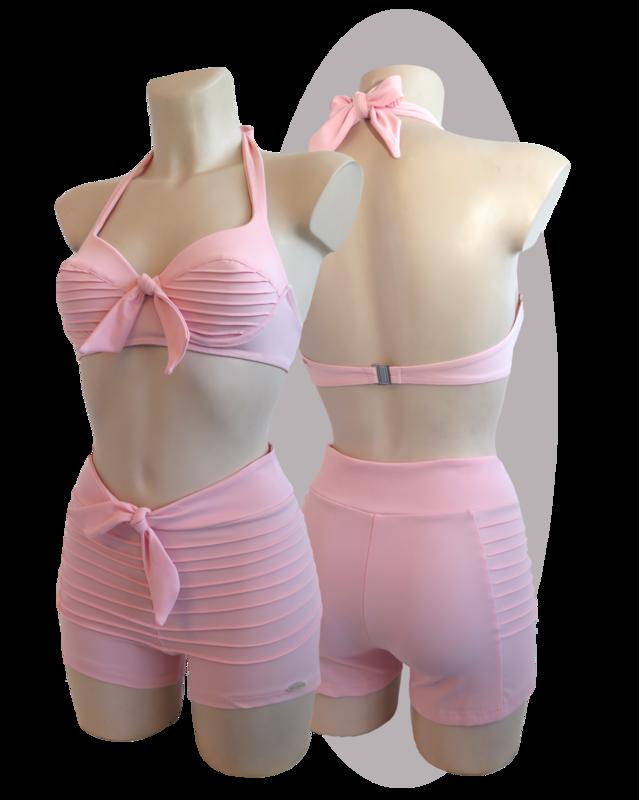 Bikini with stitched lines, pink