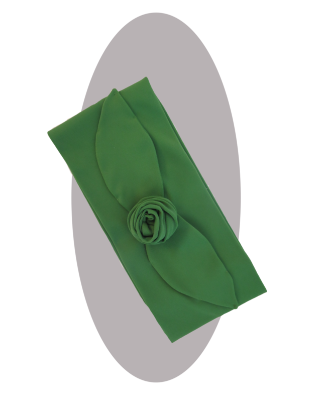 Headband with large rose  green