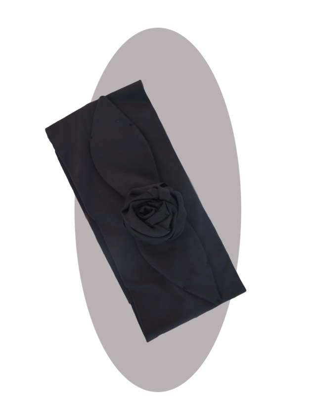 Headband with large rose  black