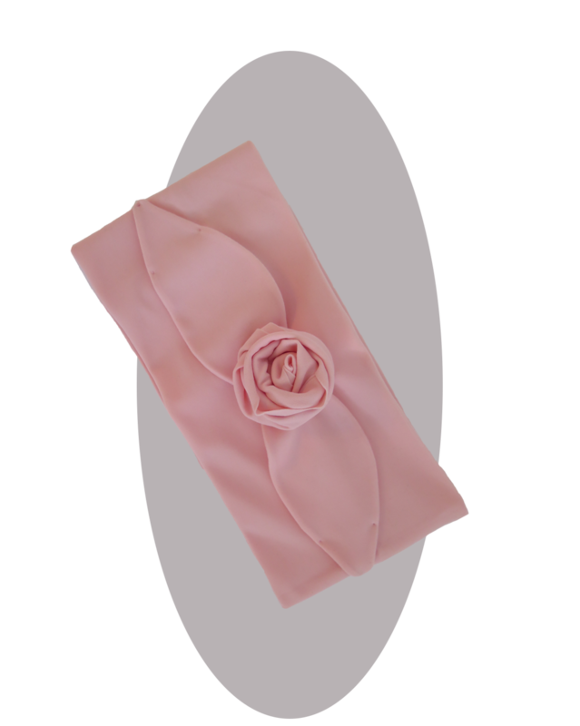 Headband with large rose  pink