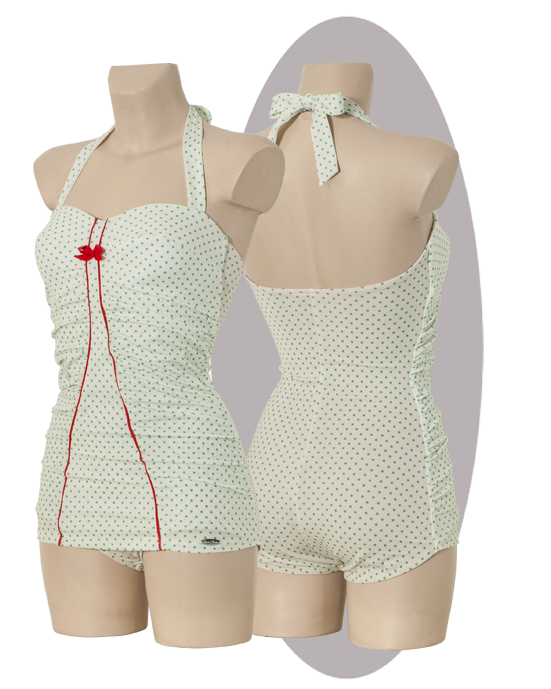 Bathing suit, white green dots print, red striped, pleated side parts.