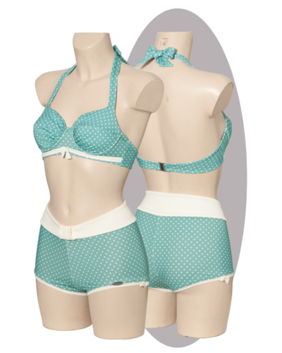 Bikini, aloe with white dots, pleated cups, tiny bows