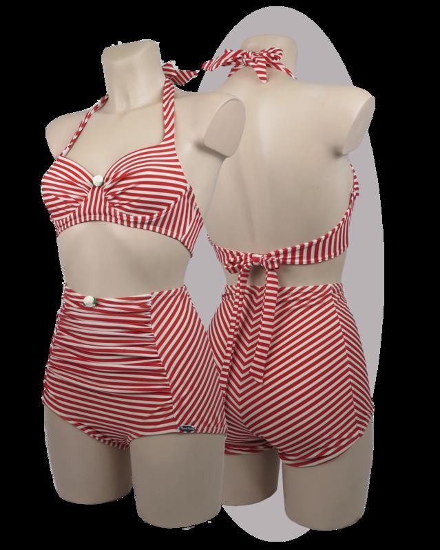 Bikini red striped print, pleated cups, rose, high waisted pants.