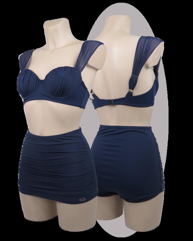 Bikini, navy blue, pants with pleated apron, pleated cups