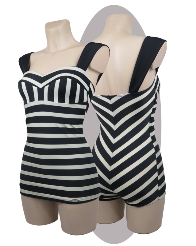 Bathing suit, with apron, striped print black/ivory