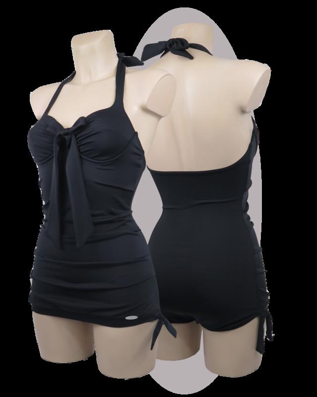 Bathing suit black, apron pleated, large bow