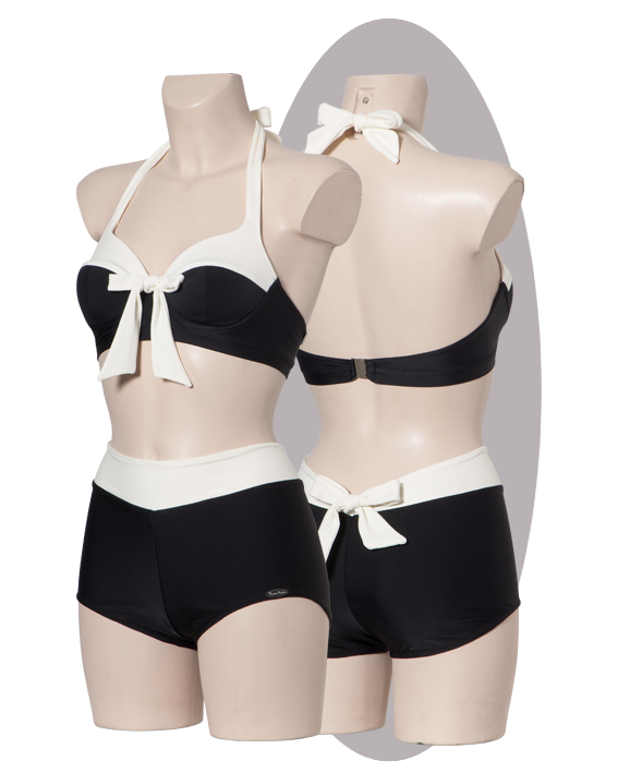 Bikini, black, with ivory strip, bow on the back