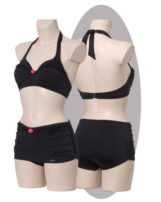 Bikini, Black With ruffles, skirted.