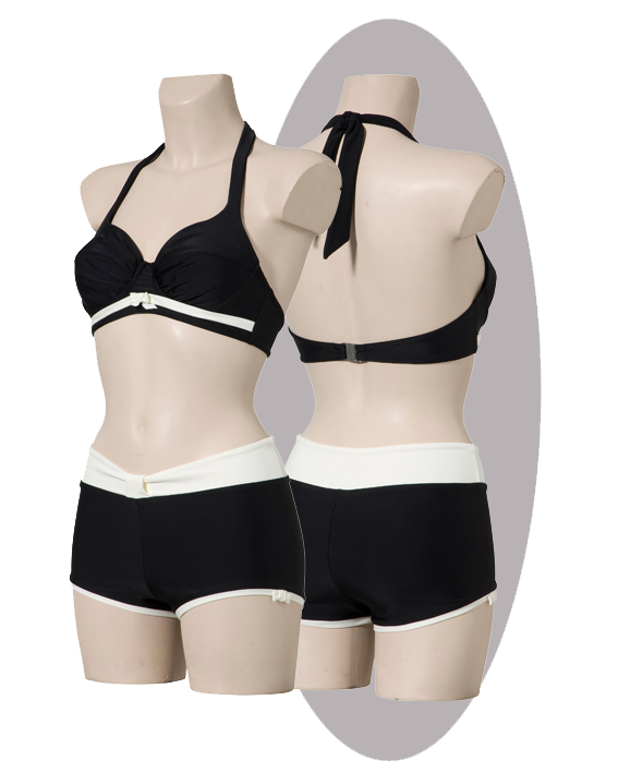 Bikini, black with pleated cups,  ivory striped and small bows.