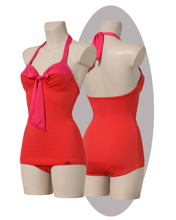 Bathing suit, red and pink, pleated softcups, large bow.