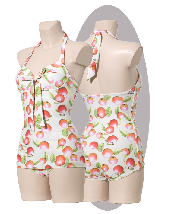 Bathing suit, wired softcups, apple-print.