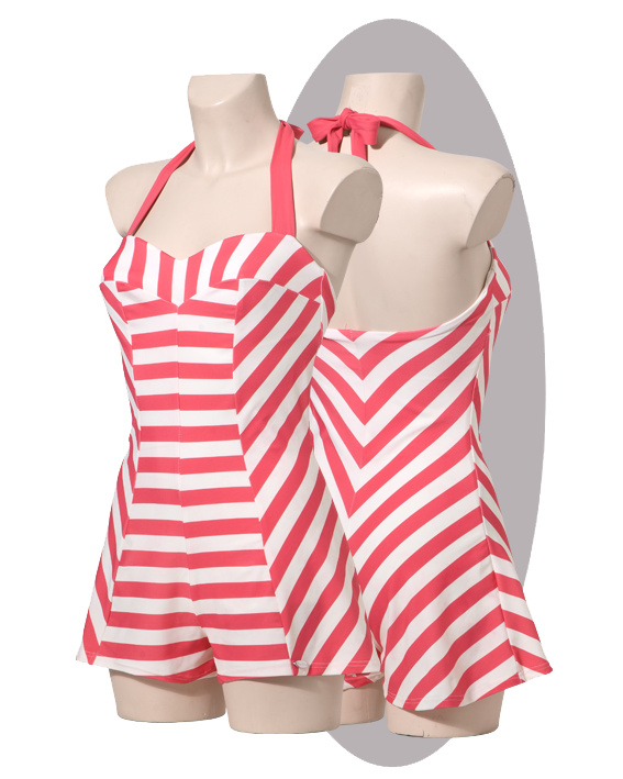 Bathing suit, pink striped, shorts.