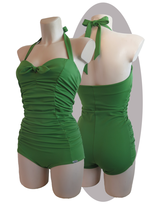 Bathing suit, pleated parts in front,  small bow in front, green