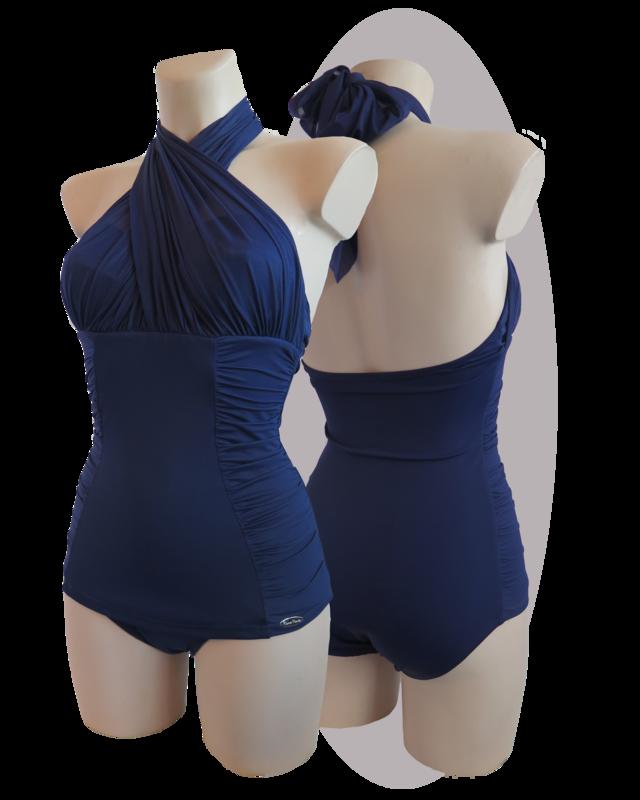 Bathing suit, pleated halters, pleated apron, marine blue